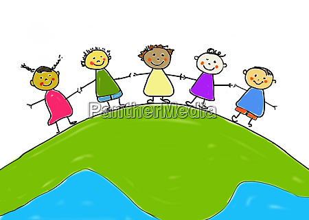 childrens drawing of five smiling children