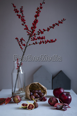 twig of holly in vase red