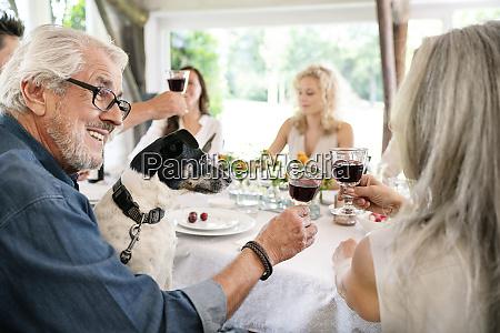 senior couple clinking wine glasses on