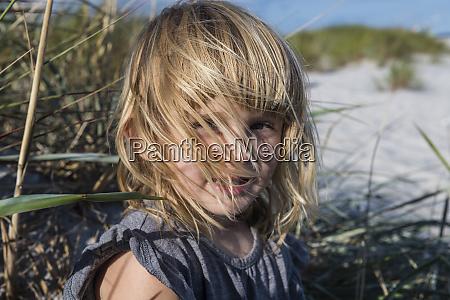 denmark bornholm portrait of smiling girl