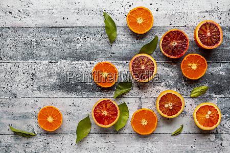 halves of blood oranges tangerines and