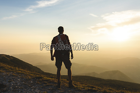 italy monte nerone hiker on top