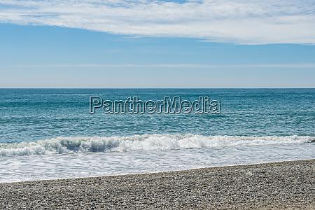 the blue coloured tasman sea and
