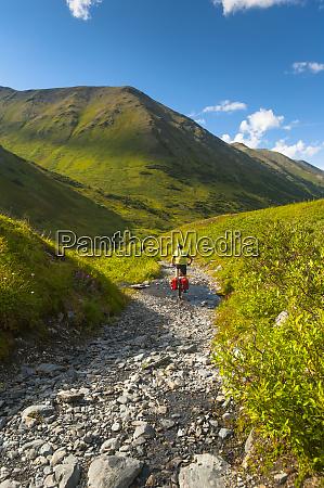 a man riding his mountain bike