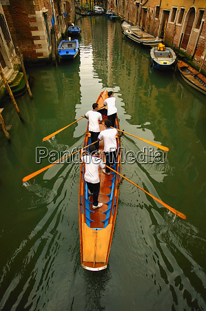 high angle view of gondoliers standing