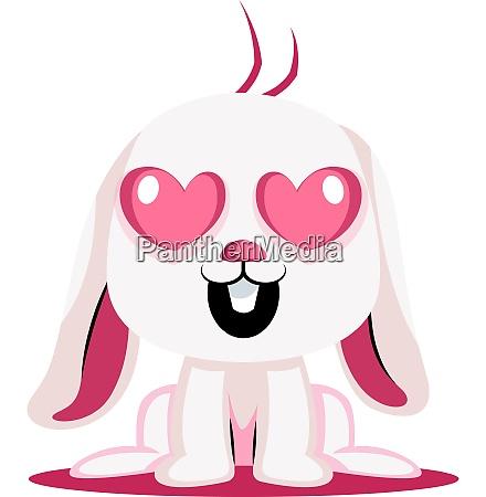 white bunny in love illustration vector