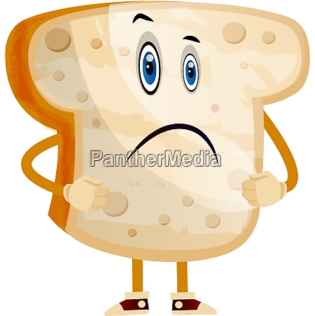 standing bread illustration vector on white
