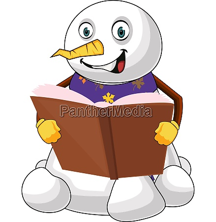 reading snowman illustration vector on white