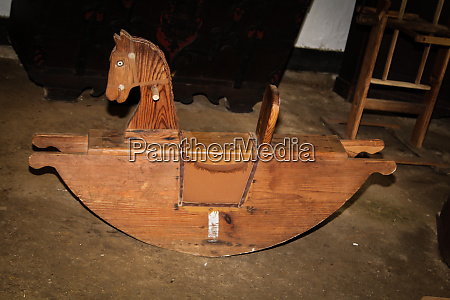 an old antique wooden rocking horse
