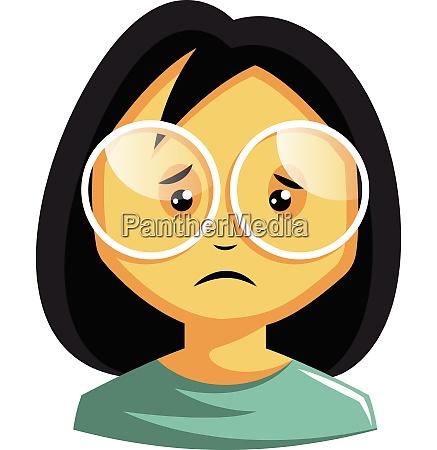 girl wearing white glasses is feeling