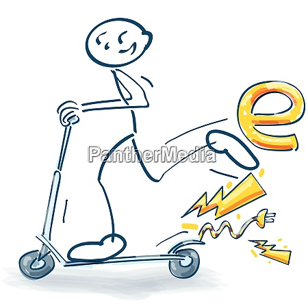 stick figure with an electric scooter