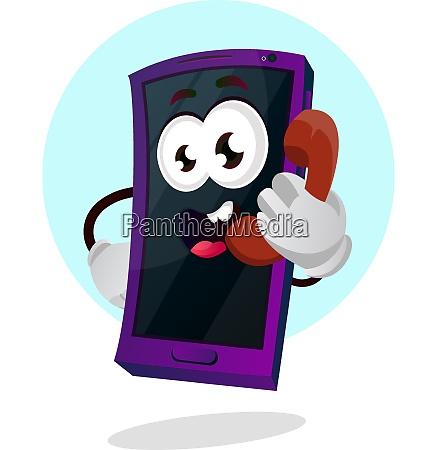 mobile emoji talking on the phone