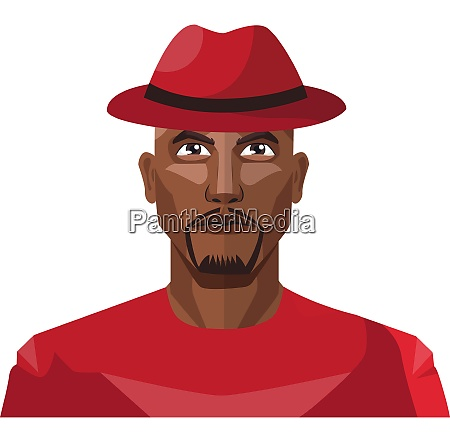 african male wearing red hat illustration