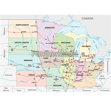 map of the midwest united states