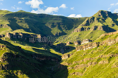 mountains scenic valley summer landscape
