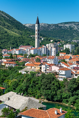 church tower rising above mostar bosnia