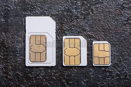 sim cards arranged in a row