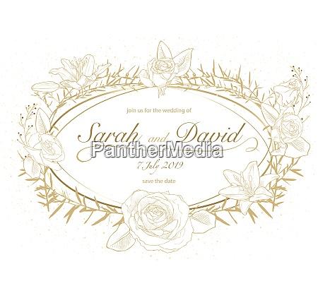 floral wedding invitation in golden color