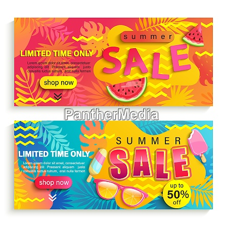 set of summer sale banners flyers