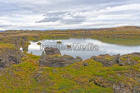 calm pond in the tundra in