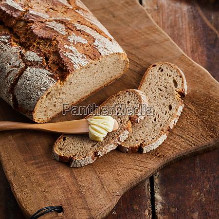 freshly baked crusty loaf of rye