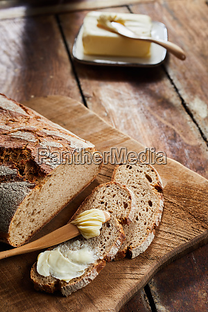 sliced crusty loaf of fresh rye