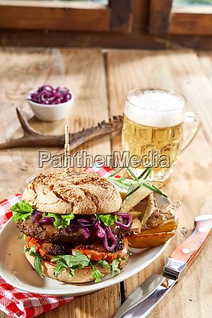 wild venison beef burger with salad