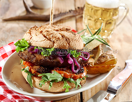 gourmet wild venison burger trimmed with