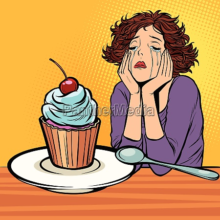 lonely unhappy woman cupcake dessert