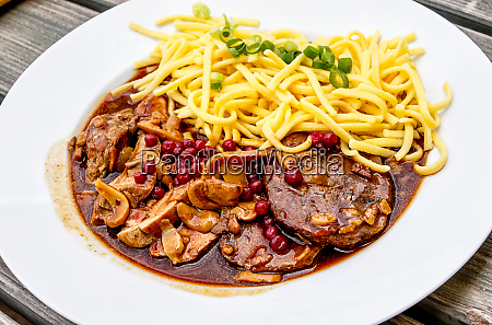 roasted deer and wild boar with