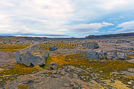 desolate volcanic plains in northern iceland