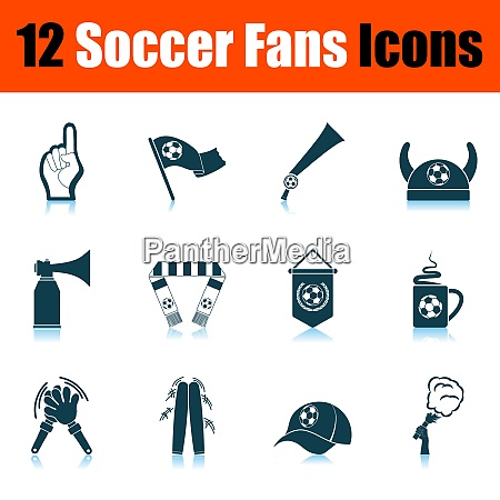 soccer fans icon set