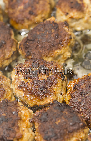 hamburger meatballs in closeup
