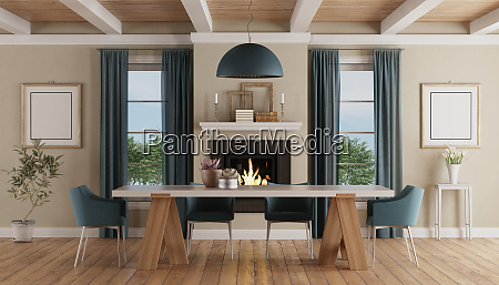 modern dining table in a classic