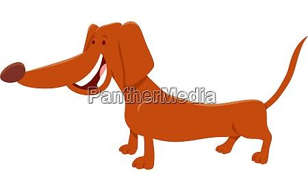 brown dachshund dog cartoon character