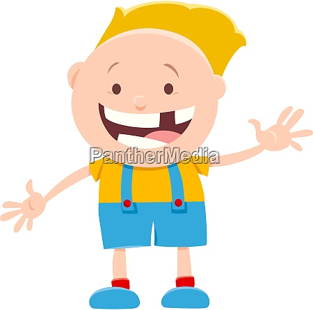 happy little boy character cartoon illustration