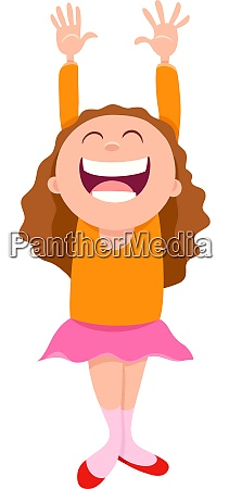 happy girl character cartoon illustration