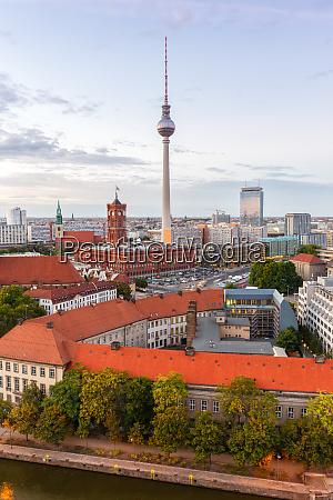 berlin skyline tv tower townhall germany