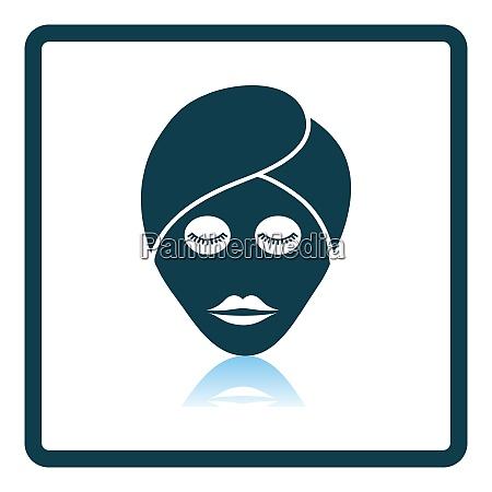 woman head with moisturizing mask icon