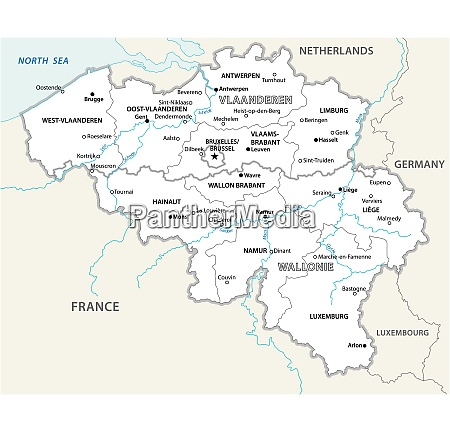 belgium administrative and political vector map