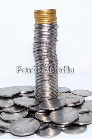 stock pile of indian rupee metal