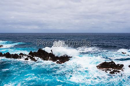 waves and rocks in porto moniz