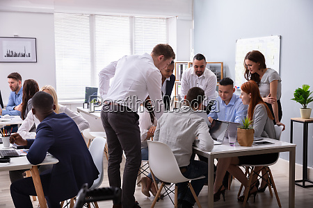 diverse group of people having discussion