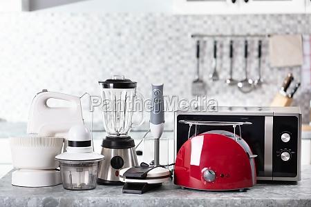 home appliance on kitchen worktop
