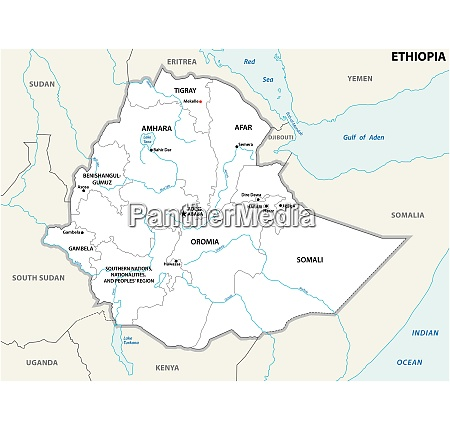 ethiopia administrative and political map