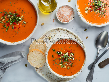 gaspacho soup on light marble top