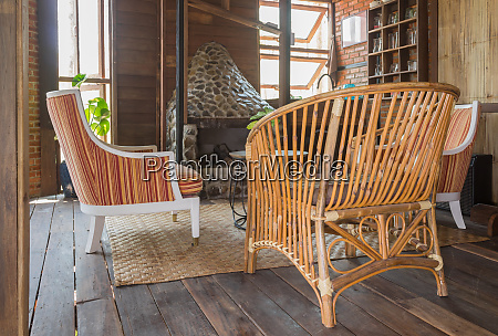 rattan chair and arm chair in