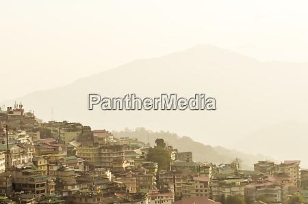beautiful panorama view of gangtok city