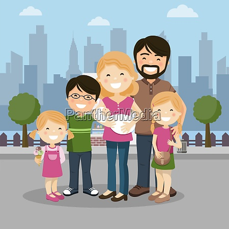 happy family with parents three children
