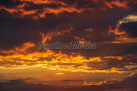 sunset with glowing clouds in the